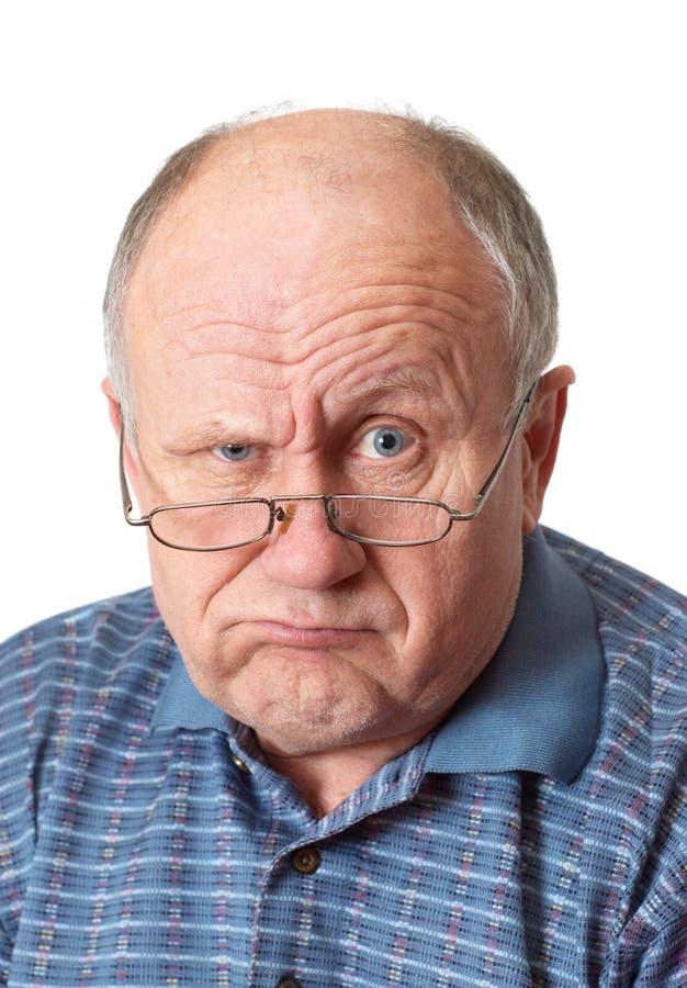 runt om skallig bedra manpensionär royaltyfria foton