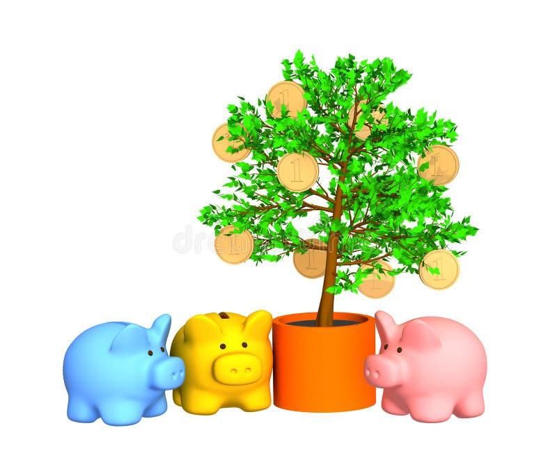 runt om värd för tree för guld för mynt för lagerask royaltyfri illustrationer