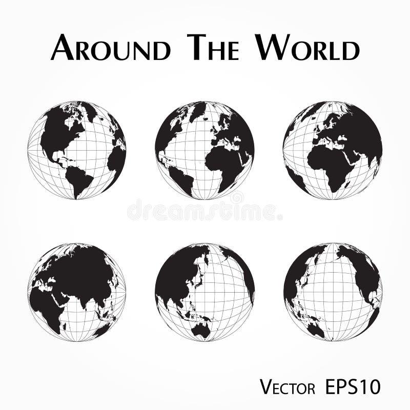 Runt om världen översikt av världskartan med frihet och längd vektor illustrationer
