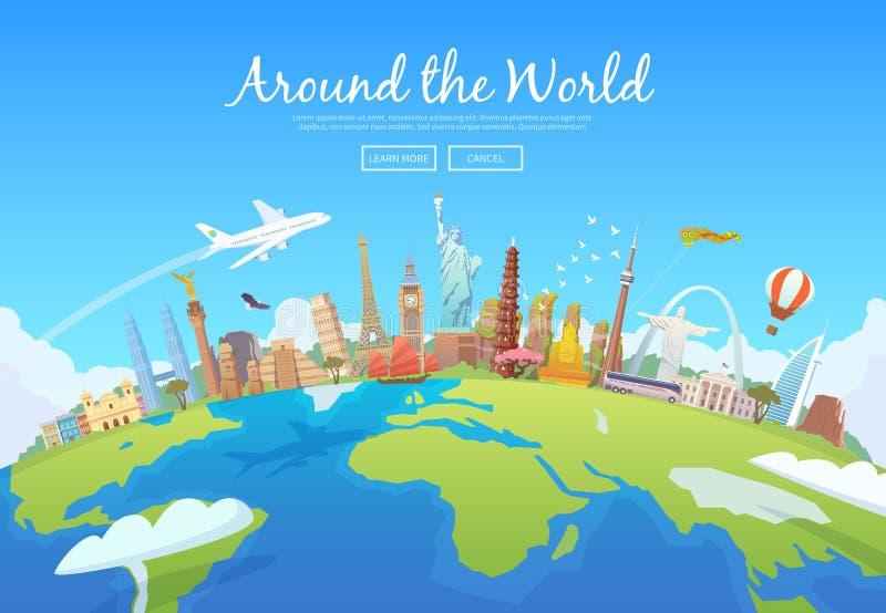 runt om världen royaltyfri illustrationer