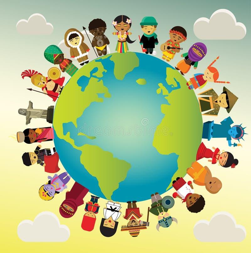 Runt om världen för ungar 23 personer med deras traditionella nationella kläder stock illustrationer
