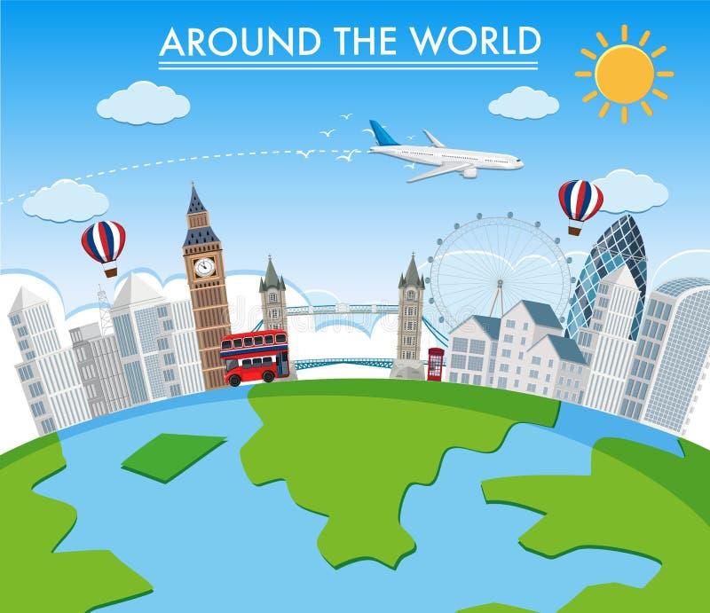 Runt om världen gränsmärke vektor illustrationer