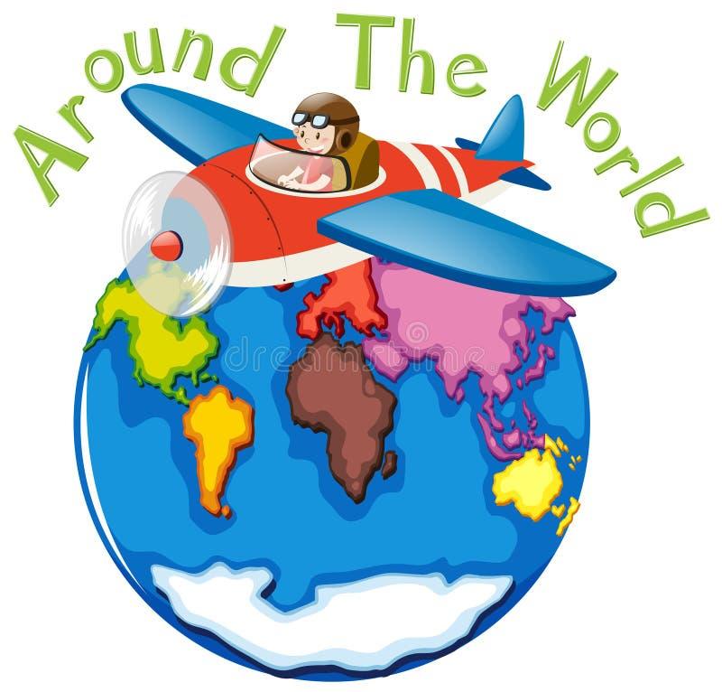 Runt om världen med flygplanet stock illustrationer