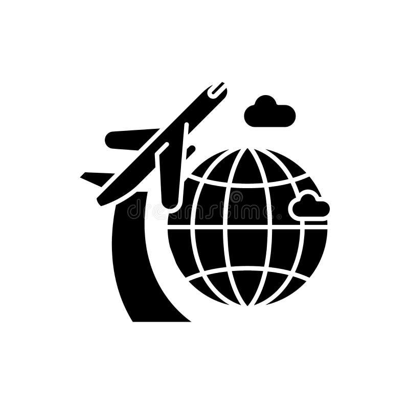 Runt om världen svart symbol, vektortecken på isolerad bakgrund Runt om världen begreppssymbol, illustration royaltyfri illustrationer