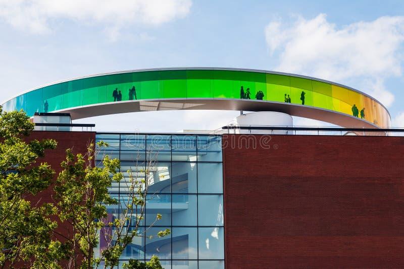 Runt panorama- tak av den Aarhus konstmusemet fotografering för bildbyråer