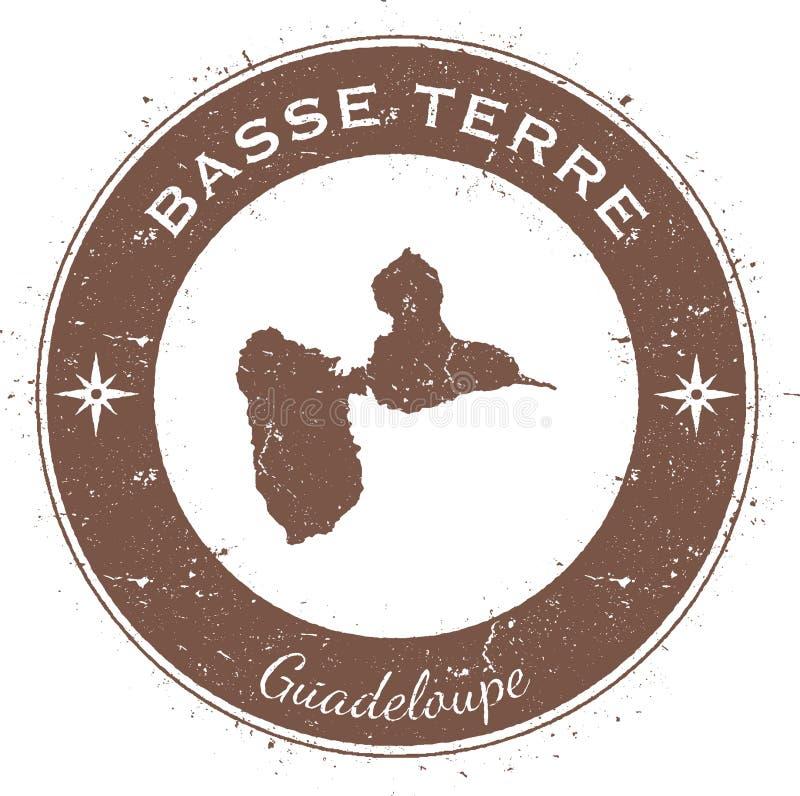 Runt patriotiskt emblem för Basse-Terre ö royaltyfri illustrationer