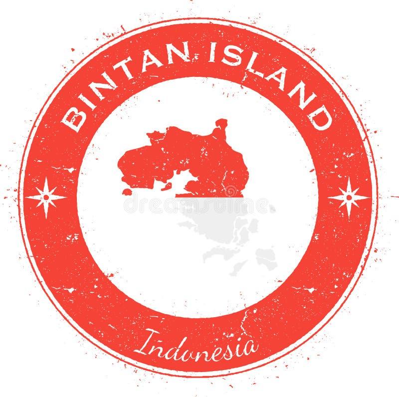 Runt patriotiskt emblem för Bintan ö stock illustrationer