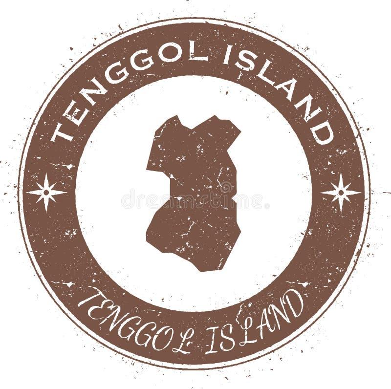 Runt patriotiskt emblem för Tenggol ö stock illustrationer