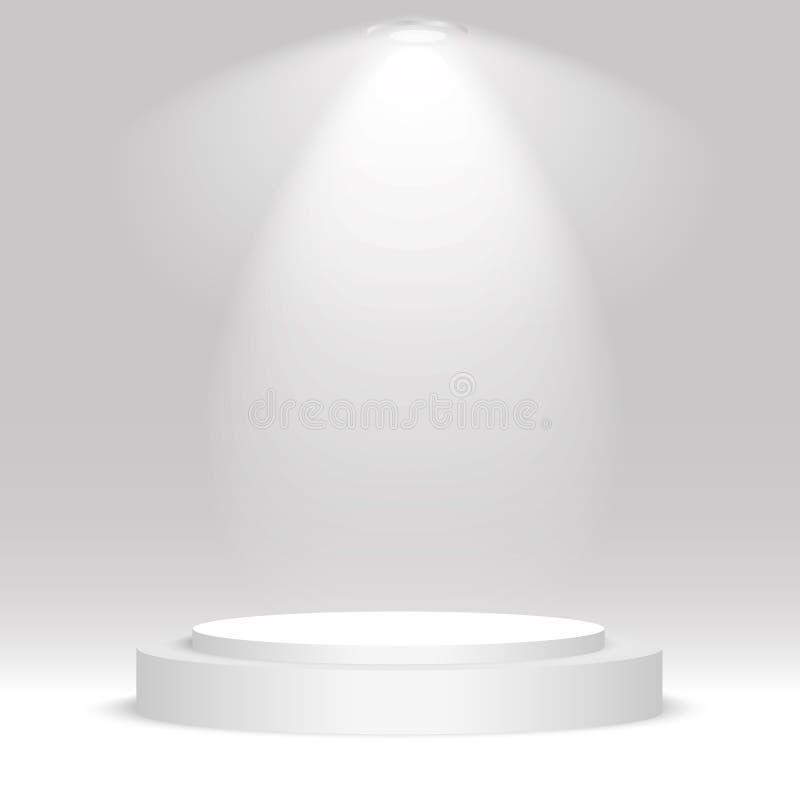 Runt podium för vit Sockel plats, strålkastare också vektor för coreldrawillustration royaltyfri illustrationer