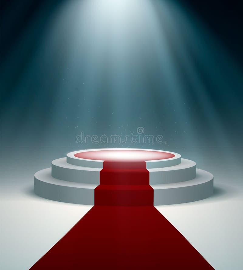 Runt podium med röd matta och ljus effekt, vektordesign vektor illustrationer