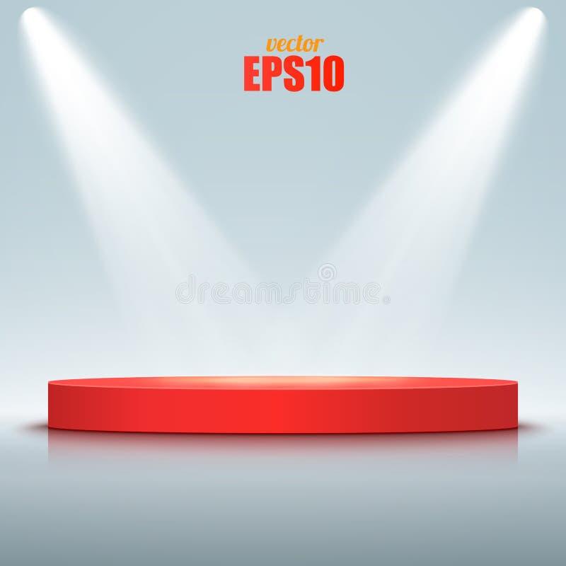 Runt podium som är upplyst vid strålkastare Vektoretapp royaltyfri illustrationer