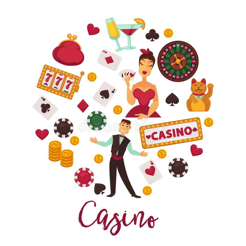 Runt promoemblem för kasino med dobbleriutrustninguppsättningen stock illustrationer