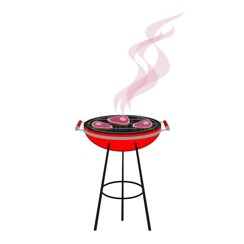 Runt rött galler med att röka för kött royaltyfri bild