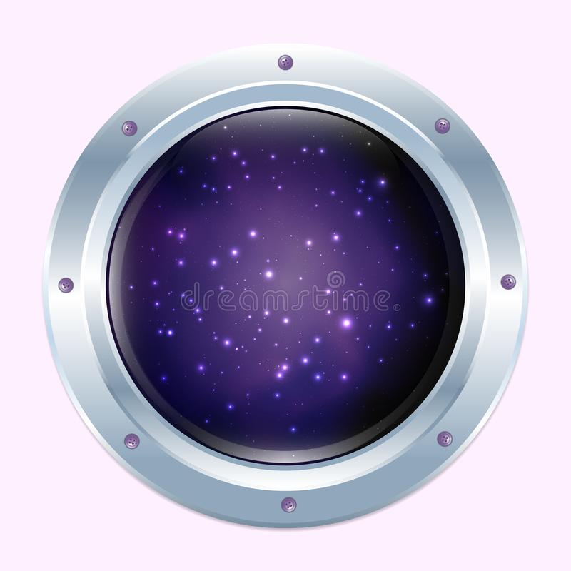 Runt rymdskeppfönster med stjärnor och mörkerkosmos royaltyfri illustrationer