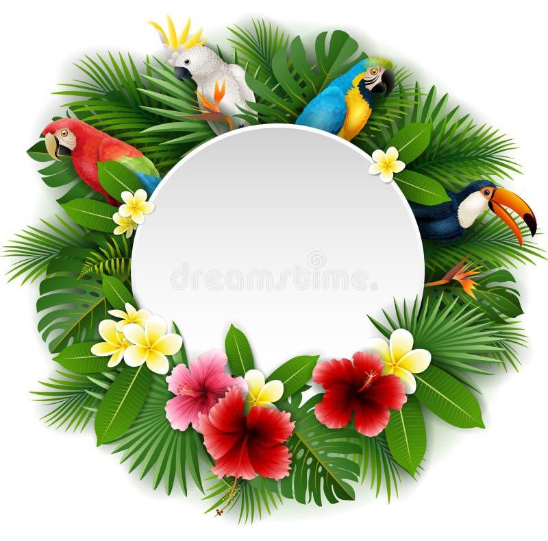 Runt tomt tecken med fågelsamlingen och bakgrund för tropiska växter royaltyfri illustrationer