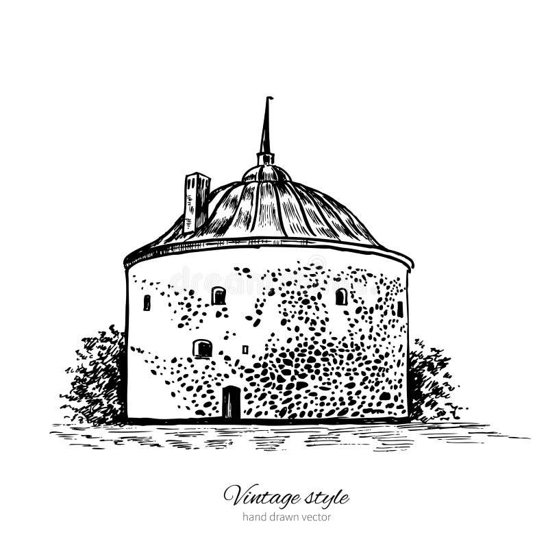 Runt torn av Vyborg, finlandssvensk golf, St Petersburg gränsmärke Ryssland, dragen hand inrista den isolerade vektorillustration royaltyfri illustrationer