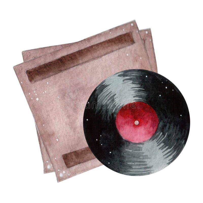 Runt vinylrekord med röd etikettvattenfärgmålarfärg Utdragen vattenfärgbeståndsdel för hand på vit bakgrund stock illustrationer