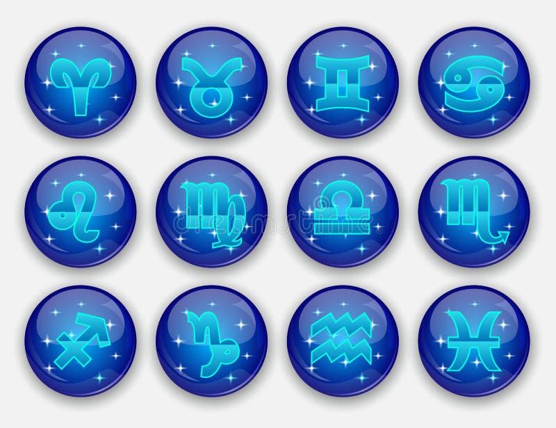 Runt zodiaktecken royaltyfri illustrationer