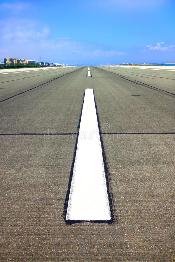 Runway. Airport runway for airplanes in Gibraltar stock photo