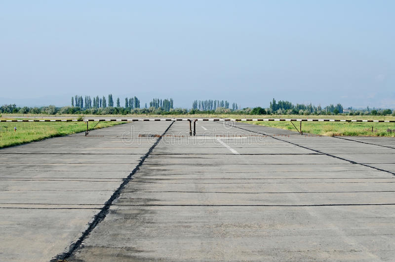 Runway at the airport in the Crimea. Runway at the airport in the Kirovskoe, Crimea, Russian royalty free stock photography