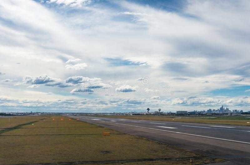 Runway, airstrip at airport with motion blur royalty free stock photos