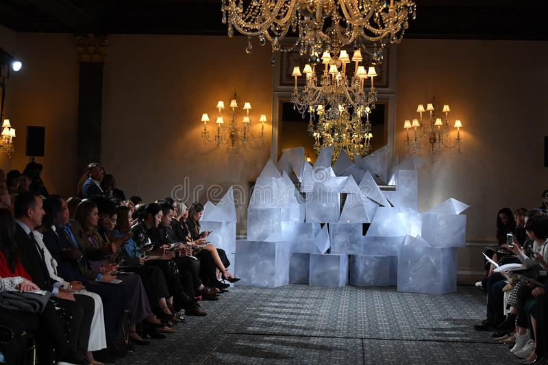 Runway background during the Mira Zwillinger Spring 2019 Bridal fashion show stock photo