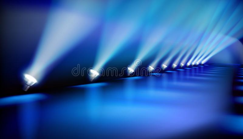Runway before fashion show. Vector illustration. Empty runway before fashion show. Blue spotlights. Vector illustration vector illustration