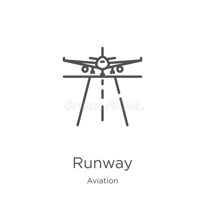 Runway icon vector from aviation collection. Thin line runway outline icon vector illustration. Outline, thin line runway icon for. Runway icon. Element of royalty free illustration