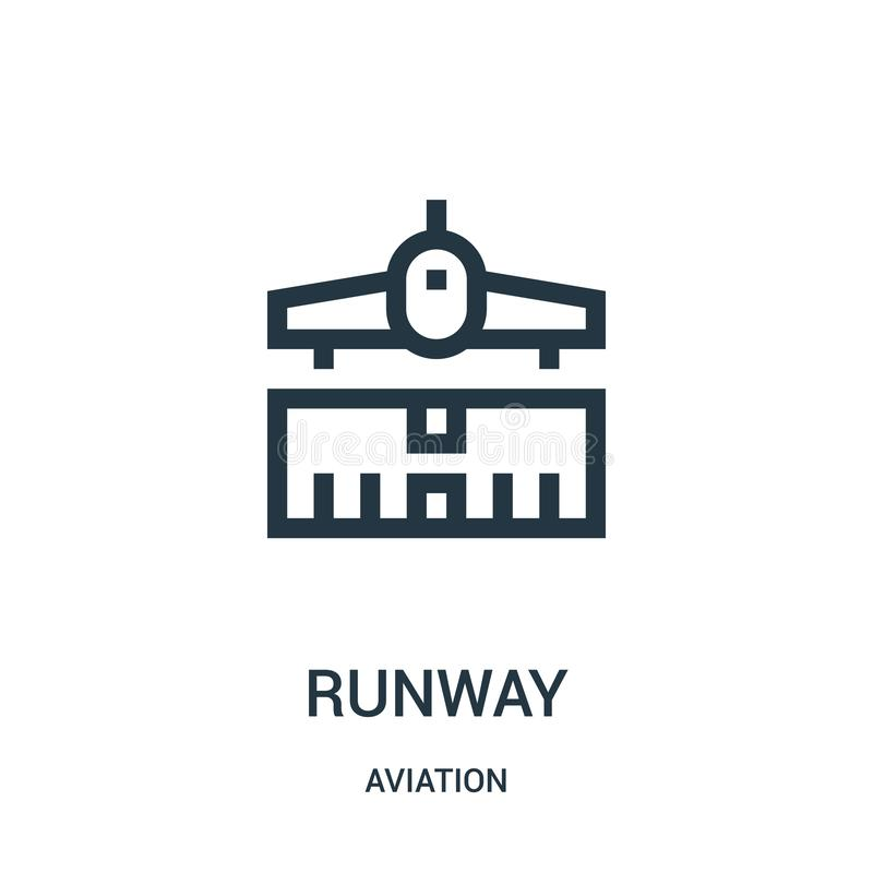 Runway icon vector from aviation collection. Thin line runway outline icon vector illustration. Linear symbol for use on web and. Mobile apps, logo, print media vector illustration
