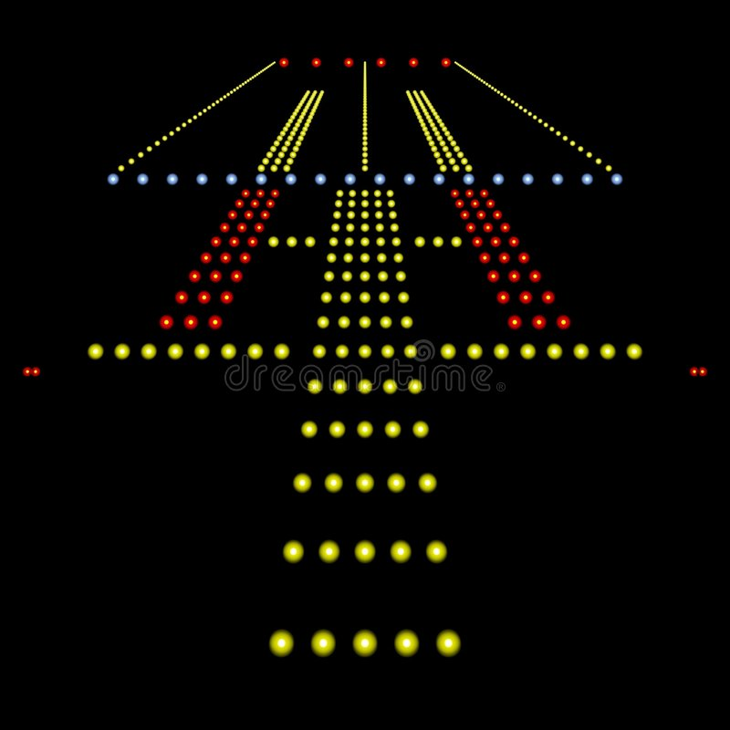Runway Lights. Perfect view of airport runway lights at night isolated on black royalty free illustration
