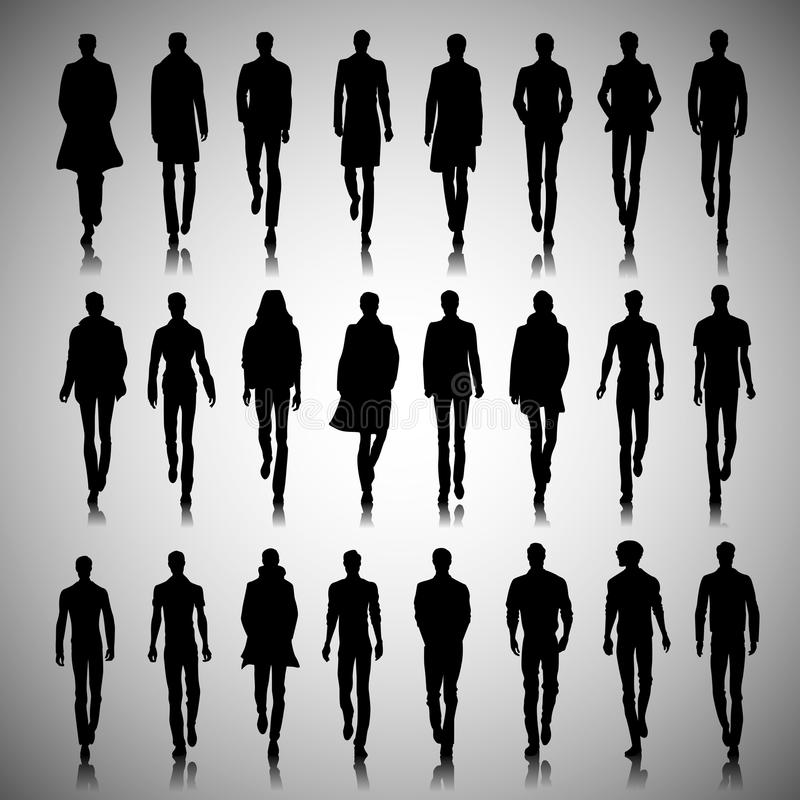 Runway men. Set of male fashion silhouettes on runway vector illustration