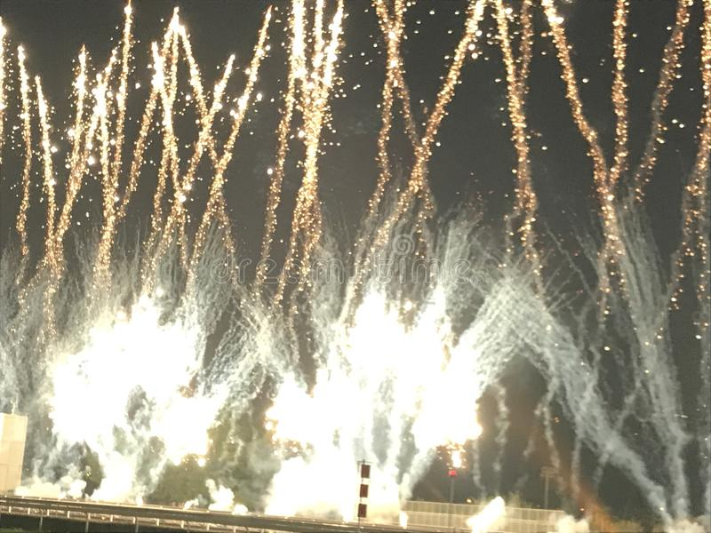 Fireworks at Shatin Racecourse. The Runway of Shatin Racecourse was making fireworks show after international racing royalty free stock photography