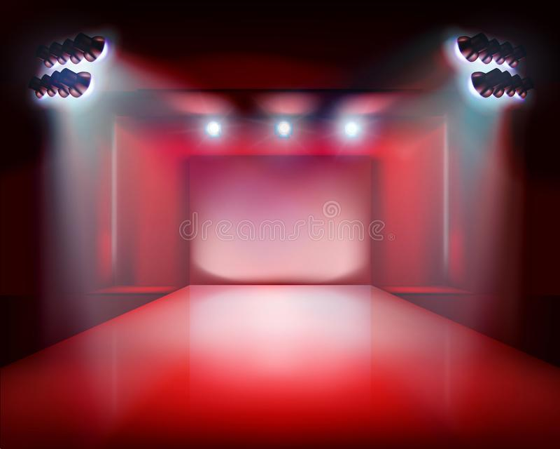 Runway show, stage lights. Vector illustration. royalty free illustration