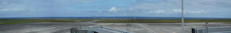 Runway and tarmac of Amami Airport. Amami Oshima, Japan - June 20, 2019: Runway and tarmac of Amami Airport stock photo