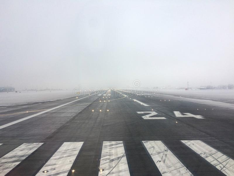 Runway on Vaclav Havel Airport in Prague royalty free stock photography