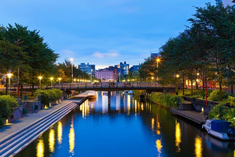 Ruoholahti canal in Helsinki, Finland royalty free stock photo