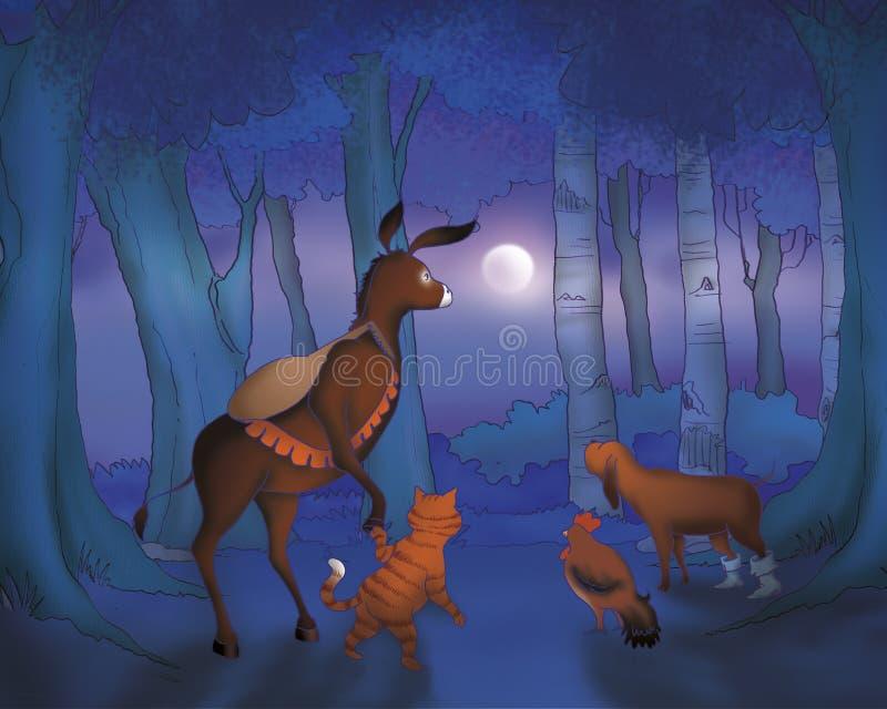 Ruolo e cane del gatto del cavallo entro la notte royalty illustrazione gratis