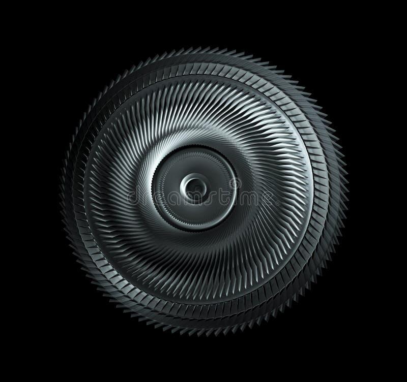 Ruota d'acciaio isolata su fondo nero, parità a macchina di industriale immagini stock libere da diritti
