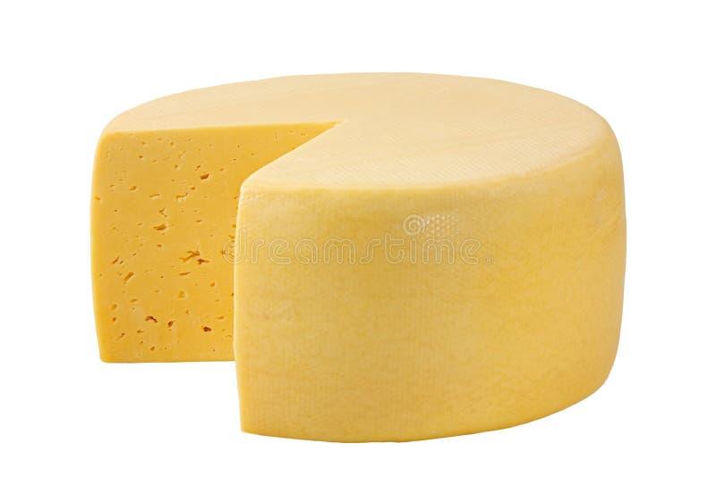 Ruota del formaggio isolata su bianco con il percorso di ritaglio fotografia stock