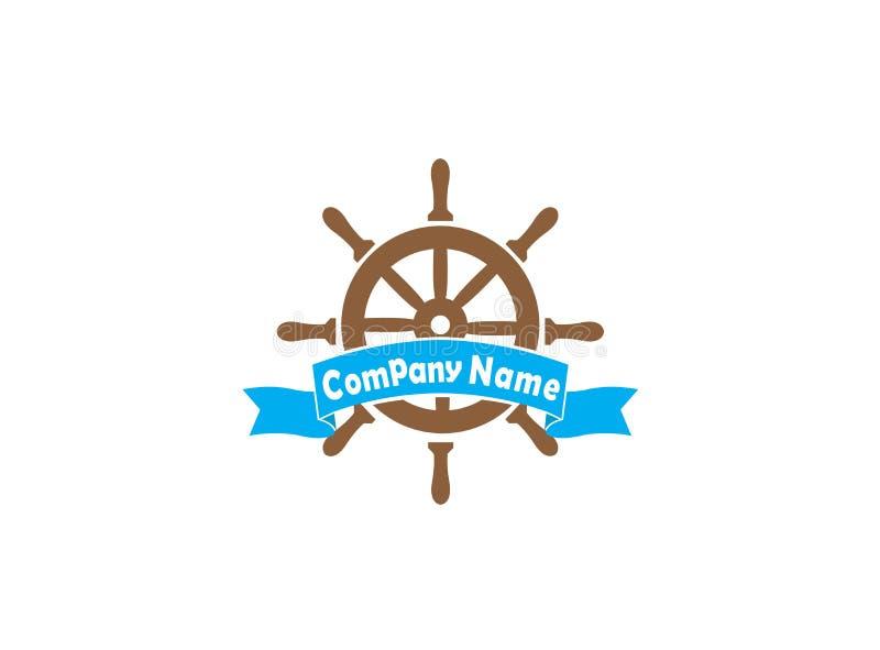 Ruota della nave con un'insegna per l'illustrazione di progettazione di logo su un fondo bianco fotografia stock