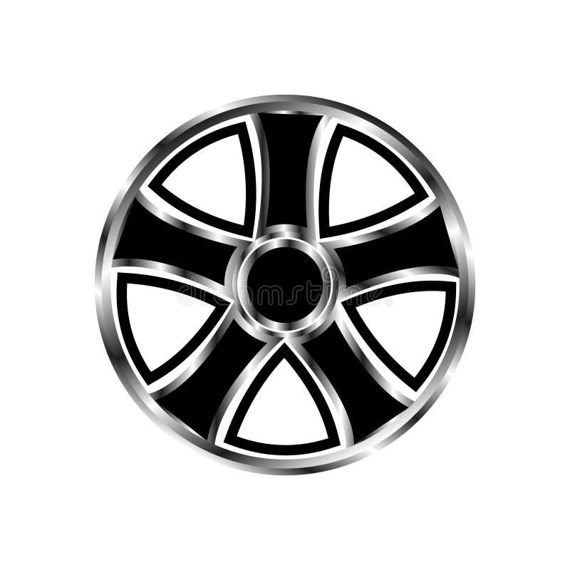 Ruota di automobile dell'azionamento dell'illustrazione di vettore con le parti di metallo nere di pendenza e del modello su un f illustrazione vettoriale