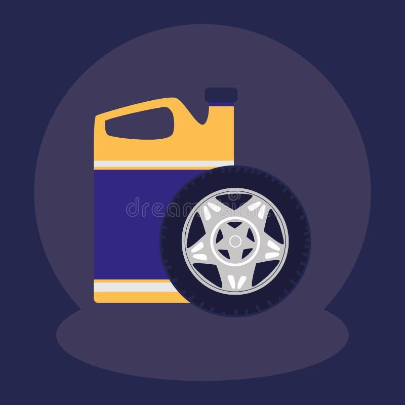 Ruota di automobile della gomma con il gallone dell'olio illustrazione di stock