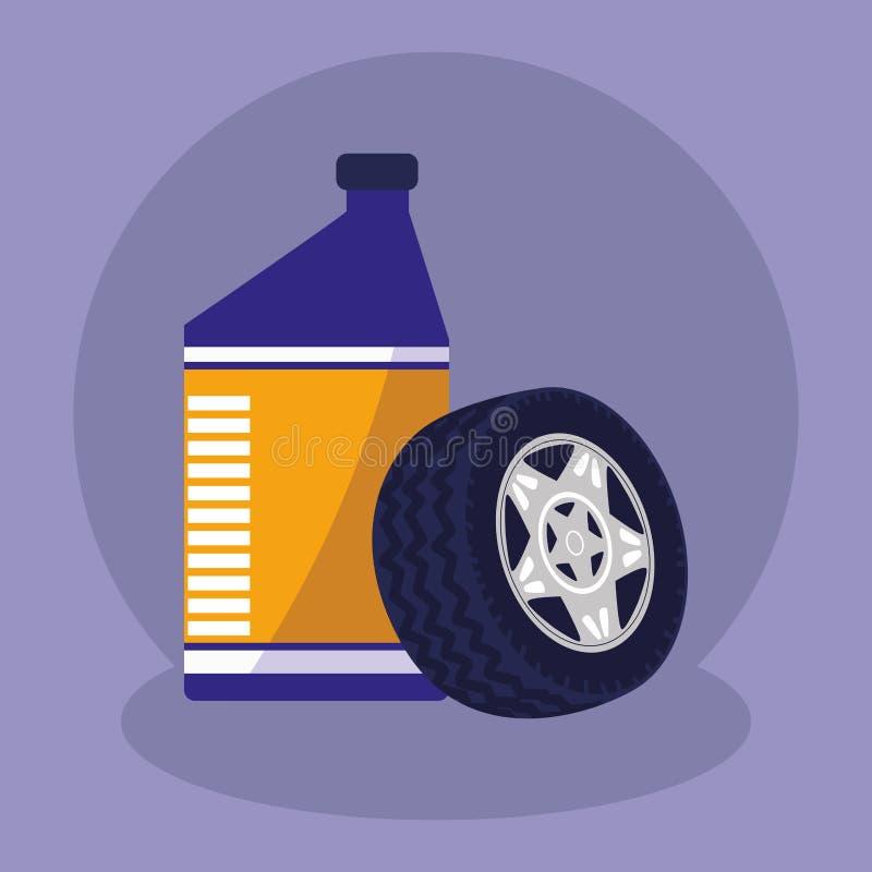 Ruota di automobile della gomma con il gallone dell'olio illustrazione vettoriale