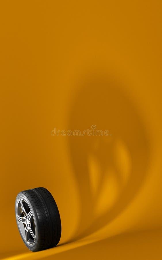 Ruota di automobile isolata su fondo arancio pneumatico Progettazione della copertura del libretto del manifesto Ombra del fantas fotografie stock