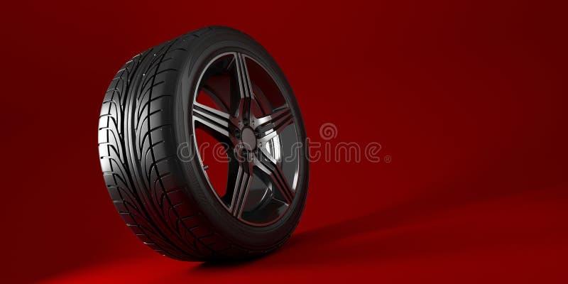 Ruota di automobile isolata su un fondo rosso pneumatico Progettazione del manifesto illustrazione 3D illustrazione di stock