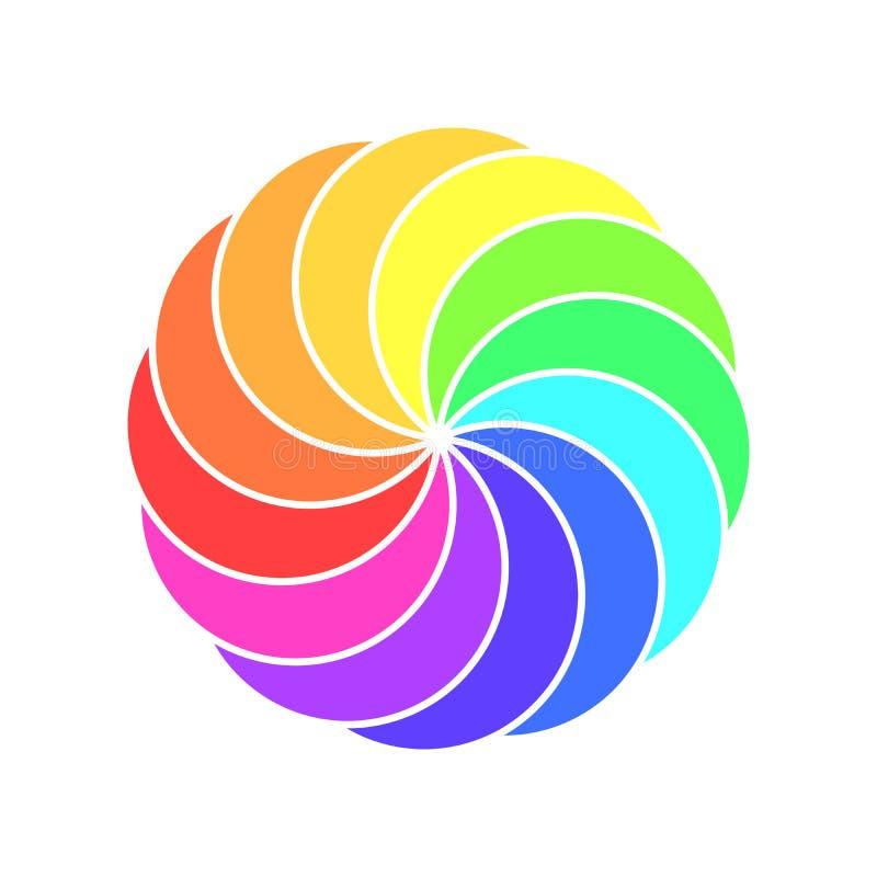 Ruota di colore di spettro dell'arcobaleno Illustrazione di vettore della banderuola dei bambini illustrazione vettoriale