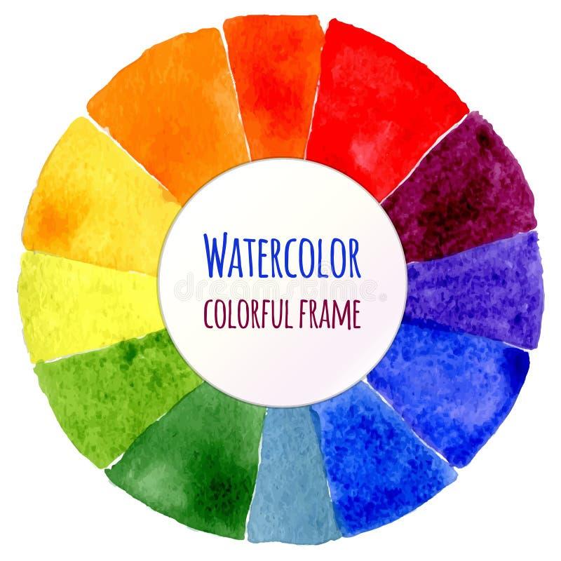 Ruota di colore fatta a mano Spettro isolato dell'acquerello illustrazione vettoriale