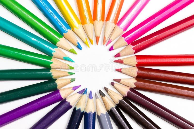 Ruota di colore fatta o matite immagine stock
