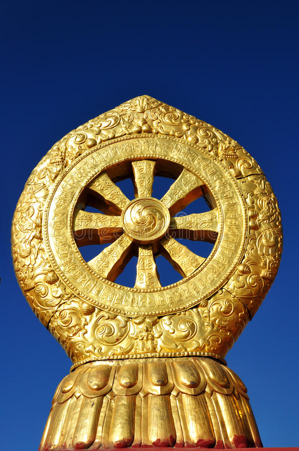 Ruota di Dharma su Jokhang fotografia stock