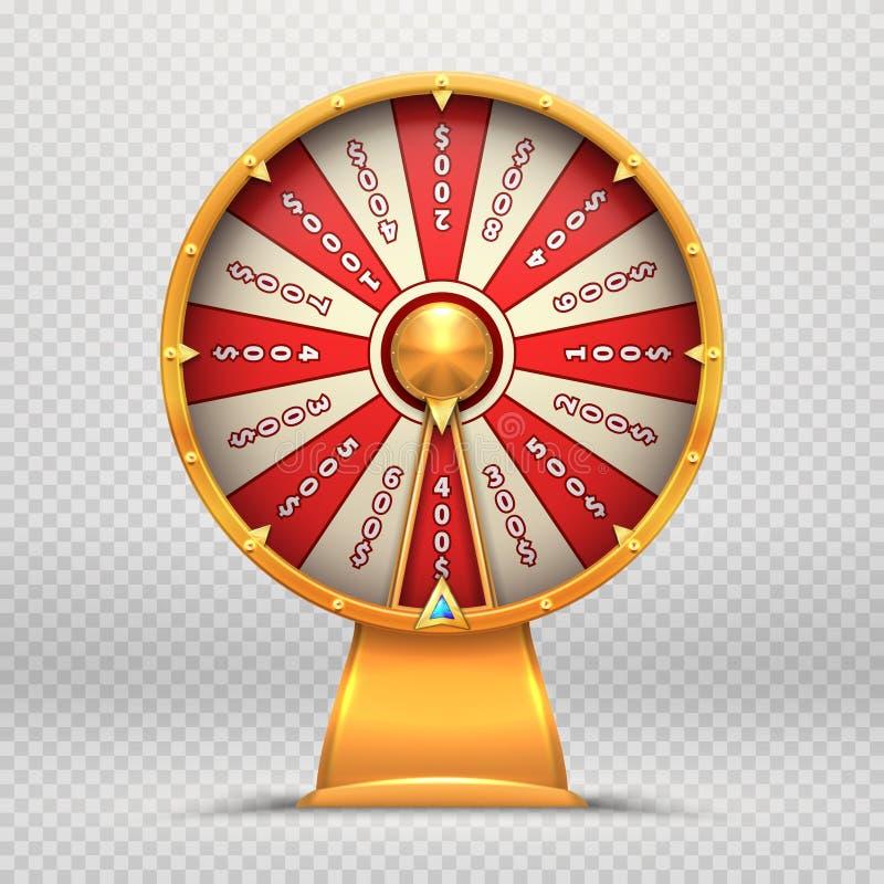 Ruota di fortuna Le roulette di giro 3d spingono l'illustrazione isolata simbolo di gioco del gioco fortunato di lotteria illustrazione di stock
